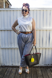 Olivia Lynn - Asos High Neck Top, H&M Tan Leather Belt, Primark Tile Print Jumpsuit, Primark Cross Over Platform Wedges, Skagen Bracelet Watch, Zara Reversible Tote Bag, Dune Yellow Pom Pom, Karen Millen Cat Eye Sunglasses - High Neck, Wide Leg