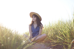 Tonya S. - Lack Of Color Straw Hat, Zara Denim Romper - Sunlit
