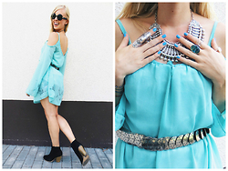 Signe Savant - Trendsgal Mint Tie Dye Dress, Barefoot Belle Hippie Kintala Necklace, Marisa Diane Designs Paua Shell Ring, Freyrs Round Sunglasses - Mint...