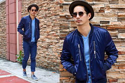The Filo Dapper - Zara Bomber Jacket, Bench T Shirt, Zara Pants, Clae Sneakers, Original Penguin Sunglasses, Brixton Hat - Blue Ensemble