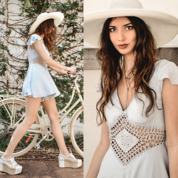 Elle-May Leckenby - Wide Brim Hat, Marli Romper, Necklace, Lekker Bike - Powder blue skies