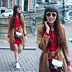 Iris Www.adashoffash.com - Vila Suede Trenchcoat, Missguided Dress, Furla Handbag, Rayban Sunglasses, Adidas Trainers - SHOW ME LOVE