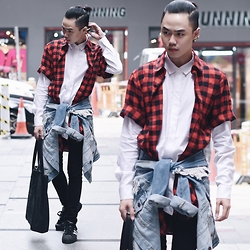 Andy Yanata - Max&Co. White Shirt, 3 By Tri Handoko Checkered Shirt, Forever 21 Ripped Denim Jacket, Kenzo Black Embroidery Leather Bag, Topman Skinny, Adidas Superstar Shoes - Check!