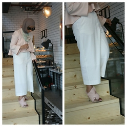 LadyB WonderLand - C/Meo Collective New Love Top, Cos Wide Leg Pants, No.21 Ronny Mules - Blushing Pink