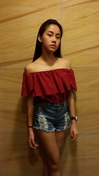 Yumi Yupangco - Online Shop Maroon Off Shoulder Top, Online Shop High Waisted Shorts - Jennica-Inspired