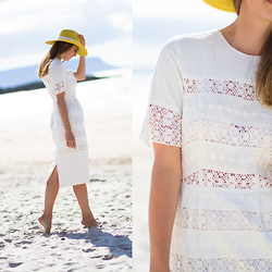 Wendy H G - Asos Dress, Reiss Hat - Scottish beach tour - Camusdarach