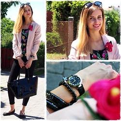 Adrianna Kubeczka - Pull & Bear Blazer, Vintage Flower Top, Bershka Pants, David Jones Bag, Carry Ballerinas Shoes, Mohito Sunglasses, Lorus Watch, Tous Bracelet - Flower power