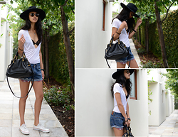 Daftbird LA - Chloe Hand Bag, Daftbird Deep V Tee, Levis Shorts, Bailey Nelson Sunnies, Chopard Watch, Vaneesa Mooney Necklace, Goowin Brothers Hat, Converse Sneakers, Gooseberry Intimates Bralette - Chloe bag, super deep V tee and Sunday mornings..
