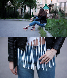 Dasha Rosenfeld - Modis Jeans, Zara Jacket, Floggs Shoes - 1000 and 1 leather jacket look