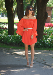 Tamy's Fashion World - Sheinside Dress, Freyrs Sunglasses, Mass Heels - Red