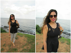 Pooja Mittal - Black Kayla Top - Holiday Mood- Peplum Top