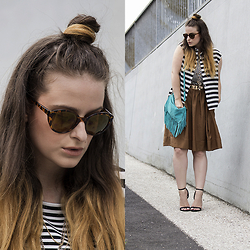 Jules - Pimkie Sunglasses, Pimkie Top, H&M Shirt, Mango Belt, H&M Skirt, Vintage Bag, Primark Heels - Stripes on Stripes