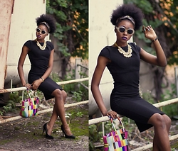 Melody Jacob -  - RAINBOW BAG AND BLACK DRESS