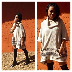 Gontse Mathabathe - Oversized Sweater, Thrift Store Thigh High Socks, Cotton On Black Booties - +Last days of Winter+