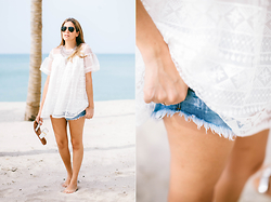 Maristella Gonzalez - Polo Ralph Lauren Tortoise Aviator Sunglasses, Style Mafia Lace Blouse, Billabong Cut Off Denim Shorts, Kate Spade Silver And White Slides, Nueve Musas Statement Necklace - Home Is Where The Ocean Is