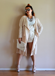 Linda B - Newdress Trench Coat, Forever 21 Oatmeal T Shirt, Urban Outfitters, Happiness Boutique Urban Chic Statement Necklace - Neutrals