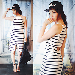 Mizuho K - Newdress Sleeveless Strap Split Irregular Stripe Pencil Dress, Zerouv Exclusive X Epic Bmx Collaboration Snapback Cap Hat, Choies Black Strap Barely There Stiletto Heeled Sandals - 2015/08/06