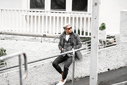 Bloggers Boyfriend - Grey Peacoat, Grey Check Tartan Quilted Blazer Slim Fit, Smart Tailored Grey Noisy Twill Track Pants Skinny, Sunglasses For Big Face - Grey Uniforms x Bloggers Boyfriend