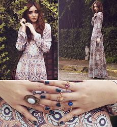 Aileen Belmonte - H&M Maxi Dress, Pretty Little Blings Chain Rings - Bohemian Mermaid