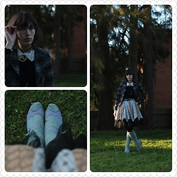 Jennifer Hankin - I <3 Billy Striped Wedges, Home Made Pirate Skirt, Review Collared Sweater - Pirate