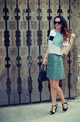 Butterfly Petty - Zara Blouse, Zara Skirt, New Look Sandals - Leather skirt styling