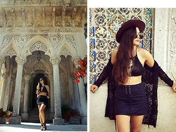 Inês @ineescosta - Shein Fringed Skirt, Dress Link Crochet Top, Zerouv Sunglasses, Dress Link Hat, Tally Weijl Lace Kimono, Charles&Keith Sandals - MOROCCAN VIBES