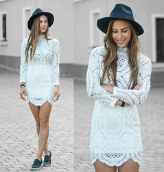Eliska H. - Sheinside Lace Dress, Steve Madden Leather Slip Ons - Lace All Over Me