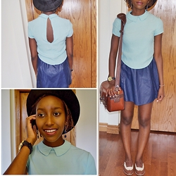 Viona Wambui - Aritzia Collared Shirt, Forever 21 Leather Skirt, Forever 21 Oxfords, Etsy Leather Bag - August vibes