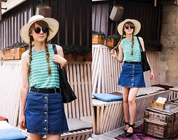 Nastia Poberezhna - Cndirect Shopper Bag, Sheinside Single Breasted Denim Skirt - Striped Summer (Giveaway on my blog!)