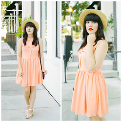 Carla Thompson - Pepaloves Salmon Bow Dress, Swedish Hasbeen Pearl Sky High - Bowtastic