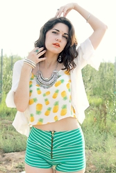 Lexi L - Newdress Pineapple Tank, Newdress Boho Statement Necklace, Vintage White Shrug - Pineapple Paradise