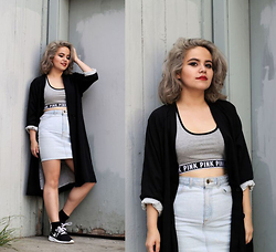 Allison K - American Apparel Denim Skirt, Monki Black Blazer - About To Be Over It