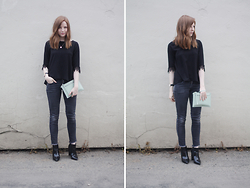 Rebekah D - Warehouse Clutch Bag, Topshop Jeans - Mint Details.