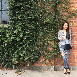 Emma Lee - Byer California Peplum Knit Cardigans, Celine Shoulder Bag, One Teaspoon Ripped Jeans, And Other Stories Sandals - Casual chic