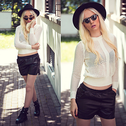 Oksana Orehhova - Style Moi Sweater, Style Moi Shorts, Bornprettystore Sunglasses - URBAN NEXT LEVEL