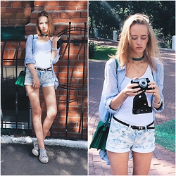 Kseniya Kaftaylova - Asos Top, H&M Shorts, Zara Bag, H&M Shirt - Walk to the River