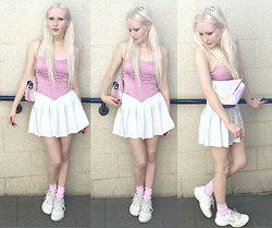 JoJo Pearson - Dynasti Choker, Topshop Pink Corset, Kokopie White Tennis Skirt, We Love Colors Pink Socks, Maude Studio Diamon Deluxe Bag, Nike Tennis Shoes - I know exactly what I want and who I wanna be