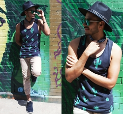 Jorge Gallegos - H&M Tank Top, Haze Collection Edge, Boohoo Fedora, Timoteo Studio Joggers, Greats The Bab Low - For The Love Of Cactus