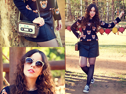 Joyce Nunes - Spin Fashion Bear Print Sweater, Antix Front Button Leather Skirt, Accessorize K7 Tape Bag, Chilli Beans Fake Lashes Sunglasses - Ready To Bear
