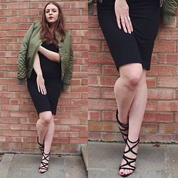 Layla Panam - Topshop Bomber, Zara Midi Dress Basics, Zara Lace Up Heels - CASUAL CHIC