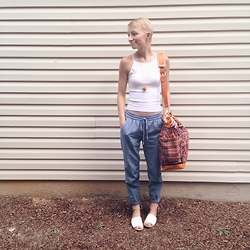 Morgan Elizabeth - Nena & Co. Day Bag Ii, Old Navy Sandals, J. Crew Pants - Nena & Co.