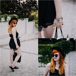 Kejt *** - Newdress Sunglasses, Newdress Jumpsuit, Primark Handbag, Newdress Watch - Black jumpsuit with lace