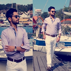 Masud Ahmadi - Ray Ban Sunnies, H&M Leather Belt, Zara Dock Shoes, Daniel Wellington Leather Watch, Zara Purple Shirts - Feeling the summer!