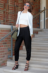 Alexis Kelly - Michael Kors Purse, Bcbg Heels, Express Crop Top, J. Crew Sunglasses, Mural Blazer, Forever 21 Pants - Fab.