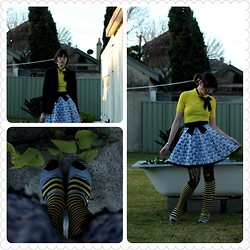 Jennifer Hankin - Home Made Tea Cup Skirt, Thrifted Yellow Shirt, Ebay Yellow Striped Knee High Socks, I <3 Billy Navy Shoes - Teacup