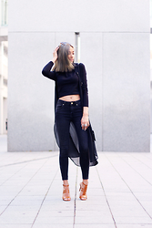 JANIKA BUBELA - Bijou Brigitte Sunglasses, Forever 21 Crop Top, C&A Vest, Comegetfashion Bag, Mango Jeans, Mango High Heels - BLACK