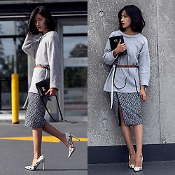 Claire Liu - Elizabeth And James Wrap Skirt, Steve Madden Pumps - August Chill
