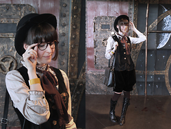 May Wildflower - Axes Femme Jabot Blouse, Axes Femme Velvet Vest, Peace Now Kodona Shorts, Bodyline Lace Up Boots, L'antre Du Lord Steampunk Brooch - Earl Grey