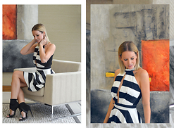 L M - Romwe Black And White Stripe Skater Dress, & Other Stories Black Sandal Booties - Way Away
