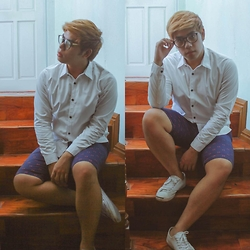 Seff Francisco - Frederick Policarpio Button Down, Forever 21 Flamingo Print, Converse Kicks - Post to be a flamingo